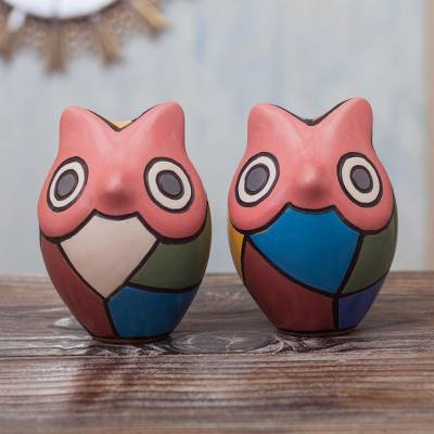 Ceramic sculptures, 'Cubist Owls in Rose' (pair) - Multicolored Chulucanas Owl Sculptures (Pair)