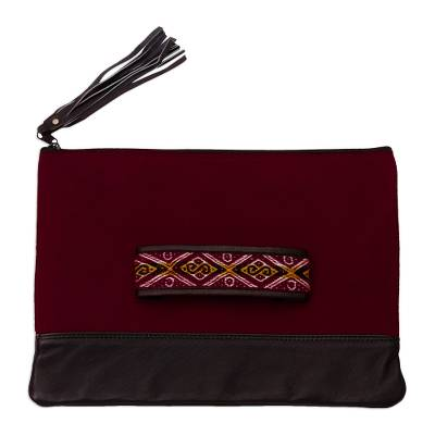 Artisan Crafted Suede and Leather Clutch
