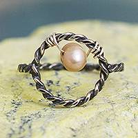 Cultured pearl cocktail ring, 'Lassoed Rose' - Cocktail Ring with Pink Cultured Pearl