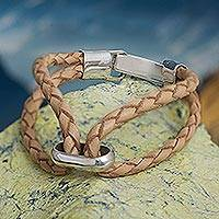 Leather and sterling silver wristband bracelet, 'Loophole' - Beige Braided Leather and Sterling Silver Bracelet