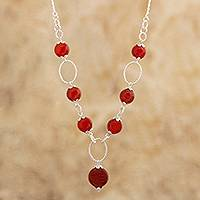 Carnelian pendant necklace, 'Radiant Glow'