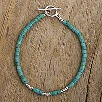 Reconstituted turquoise beaded bracelet, 'Cool Waves'