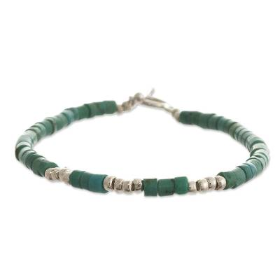 Reconstituted turquoise beaded bracelet, 'Cool Waves' - Artisan Crafted Beaded Bracelet