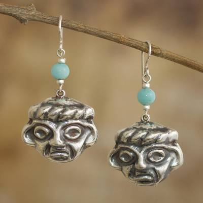 Amazonite dangle earrings, 'Chavin Memory' - Chavin Pre-Hispanic 925 Silver Earrings with Amazonite