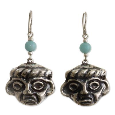 Chavin Pre-Hispanic 925 Silver Earrings with Amazonite