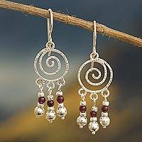 Garnet chandelier earrings, 'Spiral Nebula' - Spiral Sterling Silver Earrings with Garnets