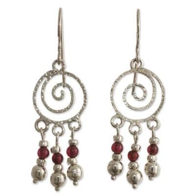 Spiral Sterling Silver Earrings with Garnets