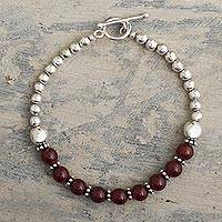 Beaded carnelian and sterling silver bracelet, 'Courageous Beauty'