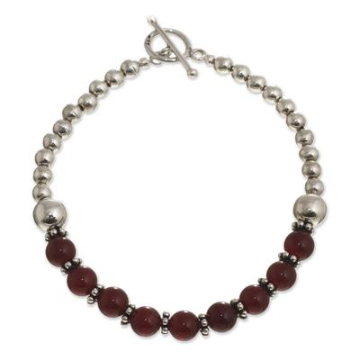 Beaded carnelian and sterling silver bracelet, 'Courageous Beauty' - Sterling and Carnelian Bead Bracelet