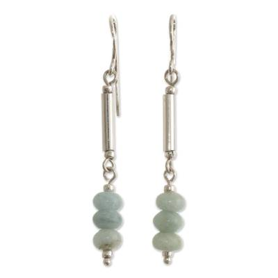Opal beaded dangle earrings, 'Dot and Dash' - Natural Andean Opal Earrings