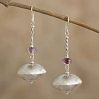 Tourmaline dangle earrings, 'Magnificence' - Dangle Earrings with Sterling Silver and Tourmaline