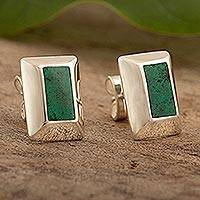Chrysocolla button earrings, 'Green Captivation' - Peruvian Sterling Silver and Chrysocolla Button Earrings