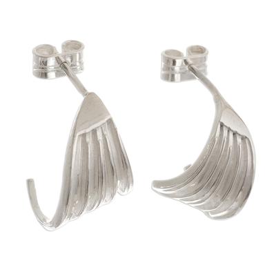 Sterling silver half-hoop earrings, 'Angels Take Wing' - Peruvian Sterling Silver Half Hoop Post Earrings