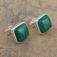 Chrysocolla stud earrings, 'Window to the Forest' - Peruvian Square Chrysocolla Stud Earrings