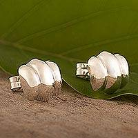 Sterling silver stud earrings, 'Puffy Little Clouds' - Peruvian Sterling Silver Cloud Stud Earrings