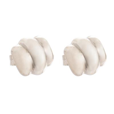 Sterling silver stud earrings, 'Puffy Little Clouds' - Peruvian Sterling Silver Cloud Stud Earrings