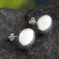 Sterling silver button earrings, 'Reflex' - Sterling Silver Oval Sphere Button Earrings from Peru