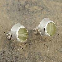 Onyx button earrings, 'Spring Lies in Wait' - Peruvian Green Onyx Button Earrings in Sterling Silver