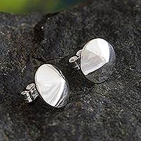 Sterling silver button earrings, 'Shining Treasures' - Sterling Silver Cone Shaped Button Earrings from Peru