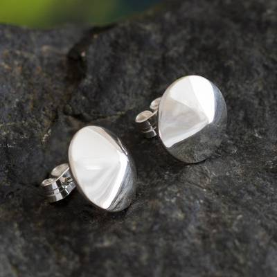 Sterling silver button earrings, Shining Treasures