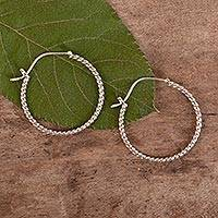 Sterling silver hoop earrings, 'Twist Around' - Sterling Silver Hoop Earrings