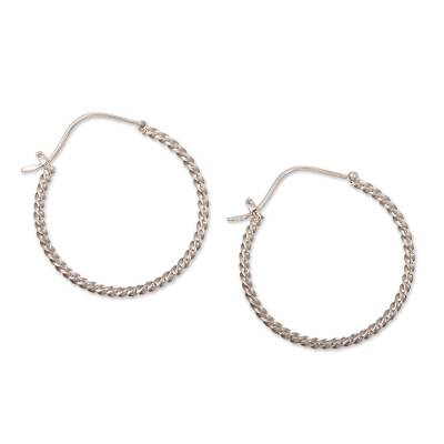 Sterling silver hoop earrings, 'Twist Around' - Sterling Silver Hoop Earrings