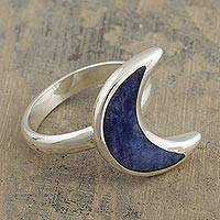 Sodalite cocktail ring, 'Waning Crescent Moon' - Peruvian Sodalite and Sterling Silver Moon Cocktail Ring