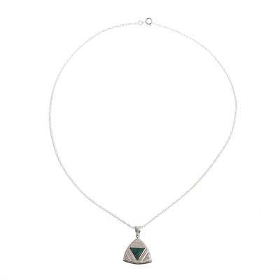 Peruvian Chrysocolla Triangle Pendant Necklace