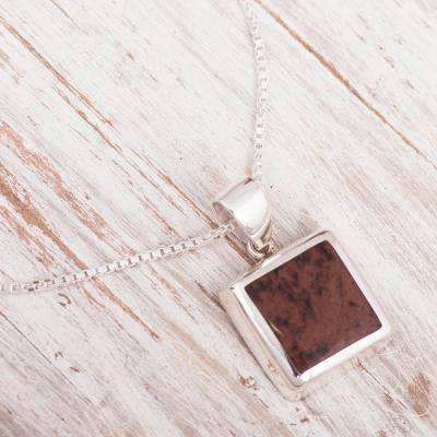 Mahogany obsidian and sterling silver pendant
