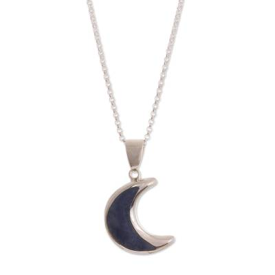 Sodalite pendant necklace, 'Waning Crescent Moon' - Peruvian Sodalite and Sterling Silver Moon Pendant Necklace