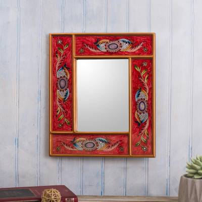 Reverse-painted glass wall mirror, 'Sophisticated Red' - Red and Gold Reverse-Painted Glass Wall Mirror