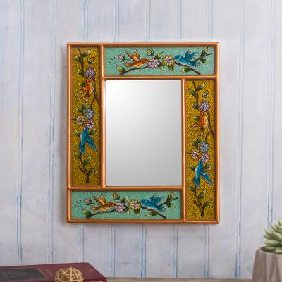 Reverse-painted glass wall mirror, 'Garden of Delight' - Bird and Flower Motif Glass Framed Wall Mirror