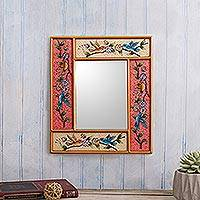 Reverse-painted glass wall mirror, 'Garden of Joy' - Handcrafted Reverse-Painted Glass Mirror