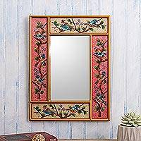 Reverse-painted glass wall mirror, 'Lovely Garden' - Floral and Bird Themed Wall Mirror