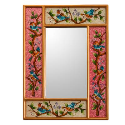 Floral and Bird Themed Wall Mirror