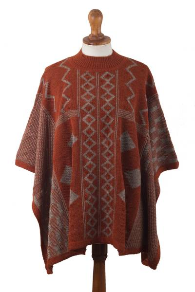 Knit Deep Orange Baby Alpaca Poncho