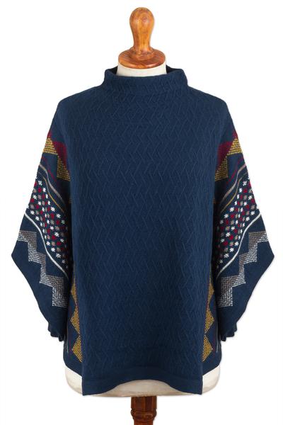 100% Baby Alpaca Wool Blue Poncho From Peru