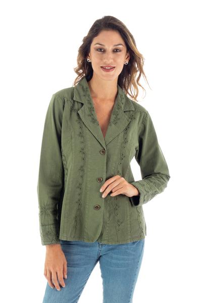 Embroidered Laurel Green Cotton Blazer Jacket from Peru