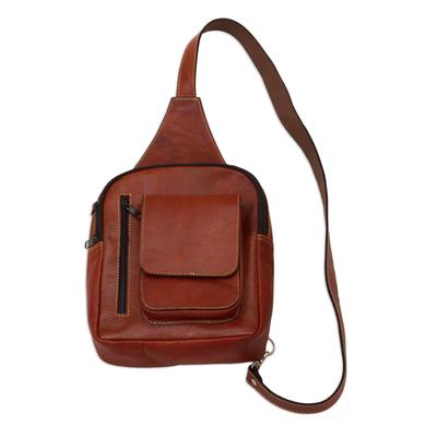 Burnt Sienna Leather Shoulder Bag