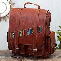 Wool-accented leather backpack, 'Inca Explorer' - Handcrafted Brown Leather Backpack with Wool Accent