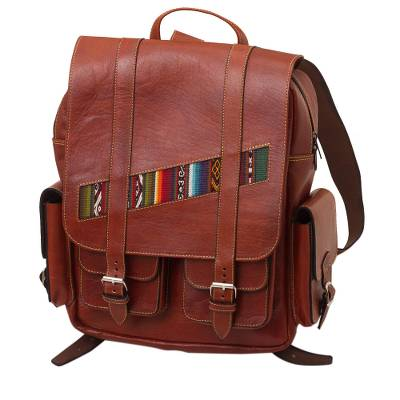 Handcrafted Brown Leather Backpack with Wool Accent