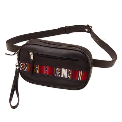 Versatile Black Leather Waist Bag or Wristlet