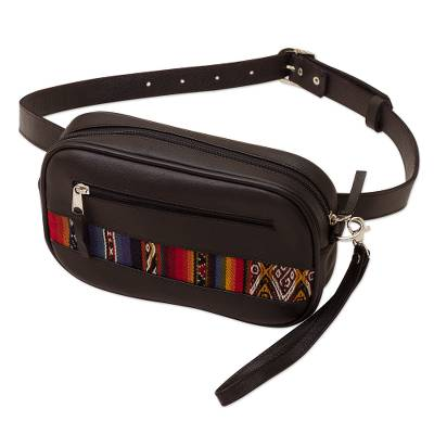 Leather Waist Bag with Wool Accent