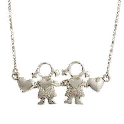 Sterling silver pendant necklace, 'Daughters' - Daughters Sterling Silver Pendant Necklace from Peru