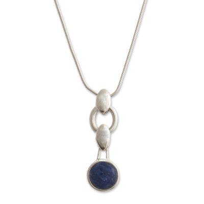 Sodalite pendant necklace, 'Minimalist Blue' - Peruvian Sodalite and Sterling Silver Pendant Necklace