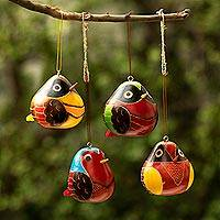 Dried mate gourd ornaments, 'Rainbow Songbirds' (set of 4) - Set of 4 Dried Gourd Bird Ornaments from Peru
