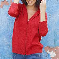 Cotton blend hoodie, 'Casual Comfort in Red' - Cotton Blend Hoodie in Cardinal Red from Peru