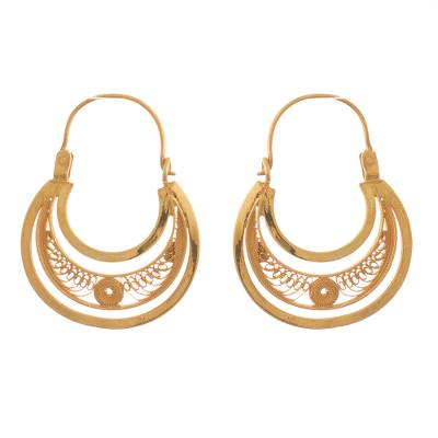Gold-plated filigree hoop earrings, 'Golden Crescent Moon' - Hand Crafted 24k Filigree Earrings