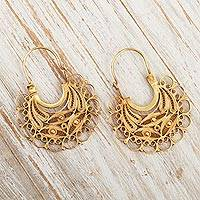 Gold-plated filigree hoop earrings, 'Golden Lace'