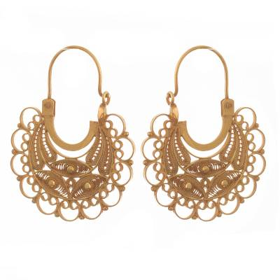 Gold-plated filigree hoop earrings, 'Golden Lace' - 24k Gold-Plated Filigree Hoop Earrings